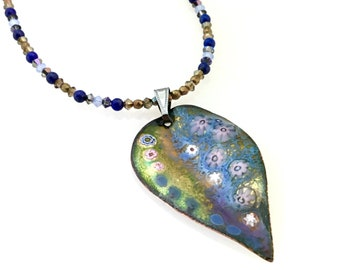 Blue and Gold Enameled Copper Leaf Pendant, Long Necklace, Pastel Design on Copper Enamel Necklace, WillOaksStudio Art Pendant, Gift for Her