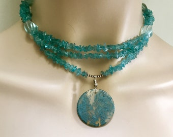 Natural Teal Gemstone Choker, Apatite Multi Strand Necklace with Big Moss Agate Pendant, Ready to Mail Original Gift for Her