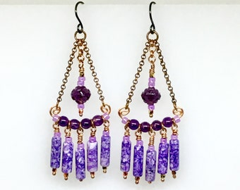 Purple Statement Earrings, Long Boho Chandelier Dangles, Amethyst & Copper, Purple Hippie Dangles, Ready to Mail Artisan Gift for Her