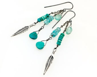 Turquoise and Apatite Long Earrings, Silver Feather and Blue Green Stone Long Hippie Dangles, Southwest Flavor, Gift for Her, Ready to Mail