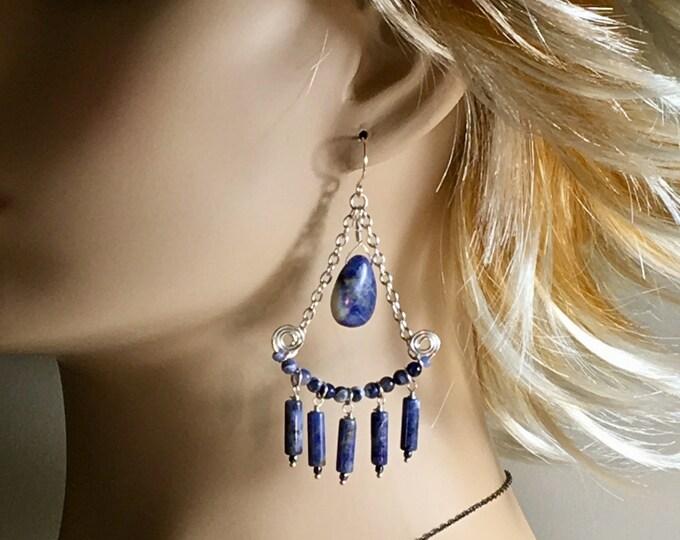 Featured listing image: Big Blue Statement Earrings, Long Chandelier Boho Dangles, Sodalite & Silver Blue Denim Stone Dangles, Hippie Artisan Handmade, Gift for her