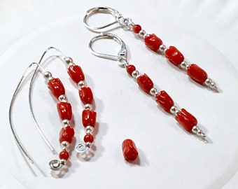 Red Tulips Carved Flower Earrings, Sterling Silver and Red Coral Dangles, Pop of Red Color,