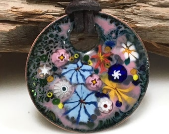 Handmade Copper Enamel Pendant, Flower Garden Painting One of a Kind, Hot Glass Enamel, Colorful Jewelry, Ready to Mail Gift For Her