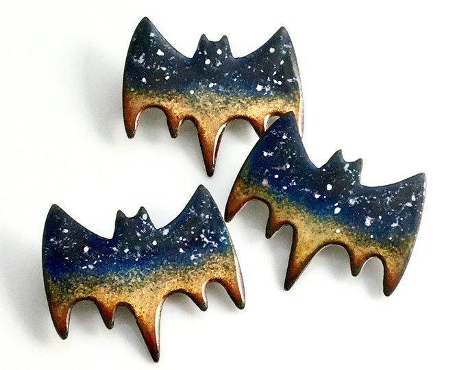 Featured listing image: Flying Bat Pin, Halloween Jewelry, Unisex Black Copper Enamel Bat, Twilight Sky, Celestial Pin, Ready to Ship, Goth Gift