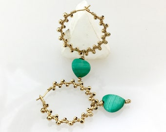 Malachite Heart on Gold Filled Hoops, Teal & Gold Dangles, Handmade GF Beaded Hoops, Natural Stone, Deluxe Gift For Her, Ready to Mail