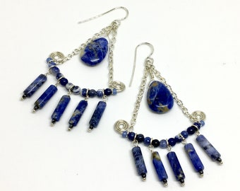 Big Blue Statement Earrings, Long Chandelier Boho Dangles, Sodalite & Silver Blue Denim Stone Dangles, Hippie Artisan Handmade, Gift for her