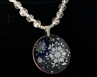 Snowflakes on a Crystal Necklace, Dark Blue Copper Enamel Pendant, Crystal Beaded & Gunmetal Chain, Handmade for a Beautiful Gift, Snowfall
