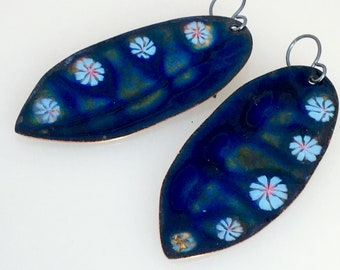 Long Leaf Enameled Earrings, Big Blue Earrings, Copper Enamel Dangles, Handmade One of a Kind Art Earrings, Outstanding Gift for Her