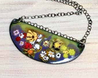 Flowery Meadow Bar Pendant, Gardener's Gift, Colorful Landscape, OOAK Copper Art Enamel, Original WillOaksStudio Design, Ready to Ship