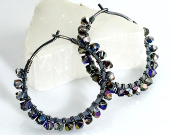 Dark Crystal Hoops, Handmade Beaded Petite Earrings in Dark Gray Swarovski Crystals, Sparkling Hoop Earrings, Gift for Her, Fashion Bling