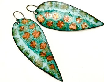 Long Enameled Earrings, Turquoise Flower Dangles, Beautiful Color, Original Gift for Her, Art Earrings, Artisan Handmade, Copper Enamel
