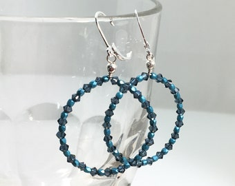 Teal Blue Hoop Earrings, Handmade Sterling Silver Big Hoop Dangles, Beautiful Swarovski Crystals & Czech Glass Beaded Hoops, Sparkly Dangles