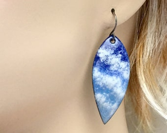 Blue & White Leaf Shaped Earrings, Long Copper Enameled Dangles, White Clouds and Blue Skies, Skywatchers Series, Original Art Gift