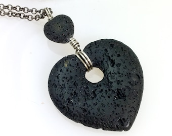 Big Lava Stone Heart Pendant, Long Diffuser Necklace, Essential Oil Jewelry, E O Jewelry for Her, Big Black Heart Pendant E O Gift for Her