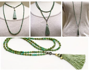 Turquoise Green Long Beaded Necklace with Handmade Silk Tassel, Stone and Glass Bead Chain to Layer and Wrap, Gift for Her, On Trend Fashion