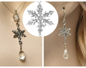 Silver Snowflake Set, Clear Quartz Crystal Dangle Earrings & Matching Pendant, Sterling Silver and Icy Faceted Stone Set, Beautiful Gifts