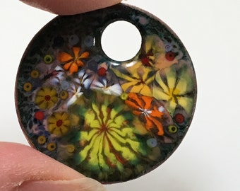 Bright Flower Enamel Pendant, Warm Colors Yellow & Orange, Impressionist Jungle, Kiln Fired Enamels, Handmade Copper Art Pendant, Gift