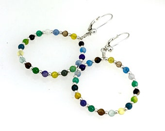 Agate and Sterling Silver Beaded Hoops, Big Hoop Earrings, Spring Colorful Stones Dangle Earrings, Original Boho Earrings, Ready to Mail