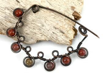 Red Jasper Stone Fibula Pin, Artisan Metalwork in Oxidized Copper, OOAK, Unique Gift for Her, Copper Metalwork Shawl Pin, Original Gift