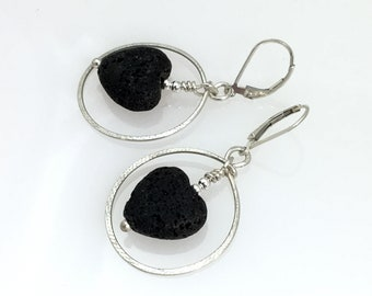 Diffuser Earrings of Forged Silver and Black Lava Stone, Hand Made Artisan Hoops, Essential Oil Jewelry by WillOaks Studio