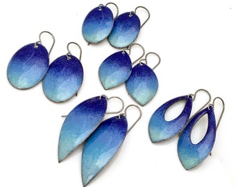 Blue Sky Enameled Earrings, Gradient Sky Collection, 5 Shapes & Sizes, Sky Watching, Blue Ombré Dangles, Oxidized Sterling Earwires