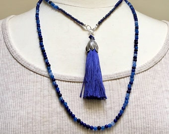 Blue Agate Long Beaded Chain with Blue Silk Tassel, Long Blue Necklace, Boho Wrap Jewelry Trend, Versatile Accessory, Gift for Her