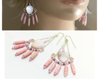 Long Pink Statement Earrings, Boho Chandeliers with Mother of Pearl & Silver Dangles, Handmade Hippie Earrings, Ready to Mail Artisan Gift