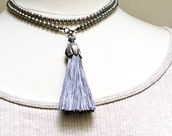 Silver Gray Long Pearl Layering Necklace with Big Tassel Pendant, Handmade Silk Tassel Focal, Gray Beaded Wrap Chain, Boho Spring Trend