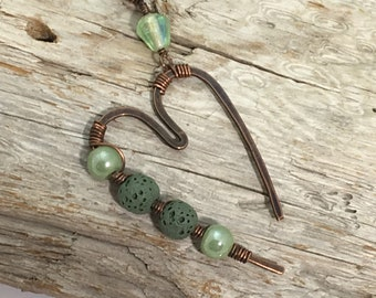 Copper Artisan Hammered Heart, Lava Stone Diffuser Pendant with Green Beads, Modern Heart Necklace, Gift for Her