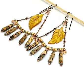 Long Chandelier Dangle Earrings, Gray & Golden Yellow Chandeliers, Natural Jasper Mother of Pearl Nature Earrings, Handmade Gift for Her