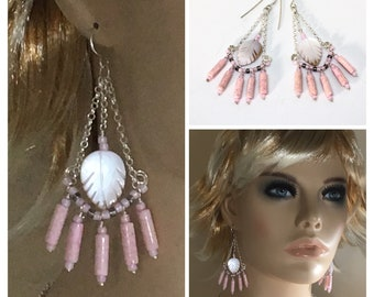 Long Pink Chandelier Earrings, Mother of Pearl and Silver Dangles, Pink Stone Handmade Hippie Earrings, Ready to Mail Artisan Gift for Her