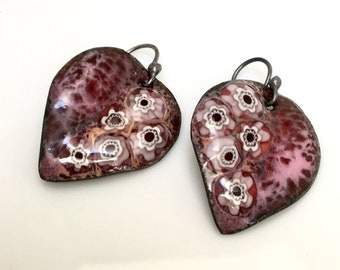 Ruby Red Enameled Leaf Earrings, Handmade Enamel Jewelry, Leaf Dangles, OOAK Original Art Jewelry, Ready To Mail Gift for Her, WillOaks