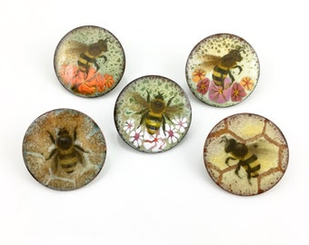 Copper Enameled Honey Bee Art Pins, One Inch Round Glass and Metal Pins, Each is OOAK Original Miniature Art Work, Unisex Nature Gift