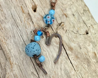 "Forged Copper ""Open Heart Pendant"", Artisan Diffuser Pendant with Lava Stone and Vintage Glass Beads, Essential Oil Jewelry Blue Beaded Lava"