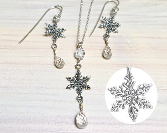 Silver Snowflake and Clear Quartz Crystal Dangle Earrings & Matching Pendant, Sterling Silver and Icy Faceted Stone Set, Beautiful Gifts