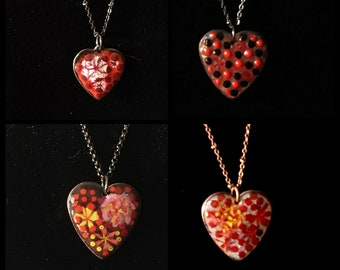 Enameled Necklaces Heart Pendants, Handmade Art Hearts on Long Chains, Red Flowers, Unique Unisex Gifts of Love, Ready to Mail and to Give