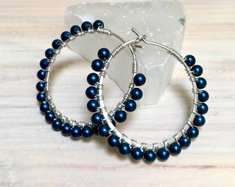 Navy Blue Pearl Sterling or Gold-filled Hoop Earrings, Crystal Pearls on Wire Wrapped Hoops, Dainty Hoop Earrings, Bridal Earrings, Wedding