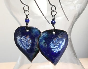 Navy Blue Enameled Leaves Earrings, Handmade Enamel Jewelry, Leaf Dangles, OOAK Original Art Jewelry, Ready To Mail Gift for Her, WillOaks