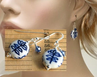 Blue & White Ceramic Earrings, Hand Painted Porcelain Dangles, Ceramics with a Chinese Inspired Floral Motif, Sterling Silver Blue Crystal