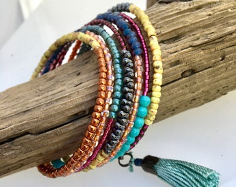 Multi Color Glass Wrap Cuff, Original Artistic Mix of Texture & Color, Boho Vibe Steel Memory Bracelet, Easy On Off, WillOaks Art Jewelry