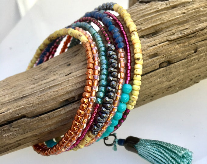 Featured listing image: Multi Color Glass Wrap Cuff, Original Artistic Mix of Texture & Color, Boho Vibe Steel Memory Bracelet, Easy On Off, WillOaks Art Jewelry