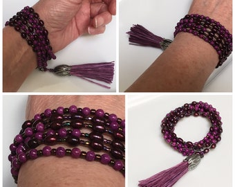 Long Beaded Necklace with Big Handmade Silk Tassel, Violet Beads & Pearls Long Wrap Chain, Original Boho Trend, Hippie Beads, Mala Inspired