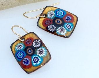 Copper Enamel Multicolor Millefiori Golden Earrings, Handmade Enameled Dangle Earrings, OOAK Art Jewelry, WillOaks Studio