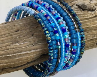 Shades of Blue Glass Wrap Bracelet #2, Magical Mixtures of Blue Beads, Easy On and Off Steel Memory Wire Cuff, WillOaks Studio Original