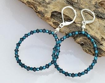 Teal Blue Crystal & Sterling Hoop Earrings, Big Hoop Statement Dangles, Swarovski Crystals and Czech Faceted Glass Beaded Silver Hoops