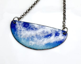 Copper Enamel Bar Pendant, Blue Sky Long Layering Necklace, Summer Skies, Original Vitreous Art Enamel, Nature Lover Gift, Ready to Mail