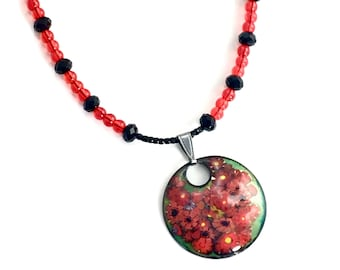 Red Flowers Copper Enameled Pendant on a Long Beaded Chain, Red and Black, Art Enamel Jewelry, WillOaksStudio, Ready to Ship Gift