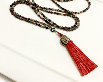 Long Beaded Chain with Red Handmade Silk Tassel, Color Pop, Wrap Chain, Original Black & Gray Stone Necklace, Boho Trend, Mala Inspired