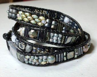 Gray and Black Wrap Cuff, Glass Beads & Leather Woven Bracelet, Four (4) Wrap Bracelet, Original WillOaks Studio OOAK Artisan Jewelry