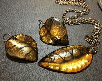 Black & Transparent Golden Enameled Pendant and Earrings Leaf Set, Handmade Dangle Earrings and Coordinated Pendant, Gift for Women